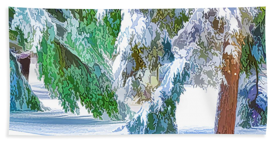 Snow Hand Towel featuring the painting Snowy Winter by Jeelan Clark