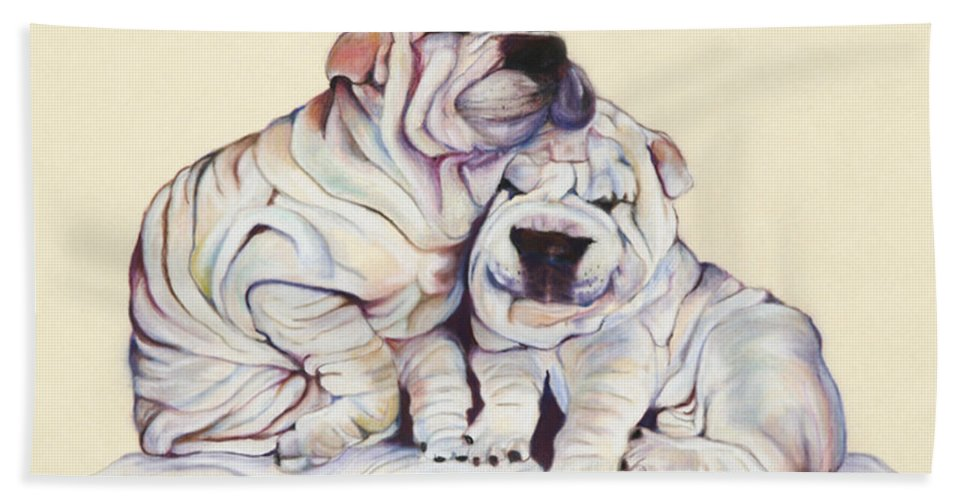 Dog Painting Hand Towel featuring the pastel Snuggles by Pat Saunders-White