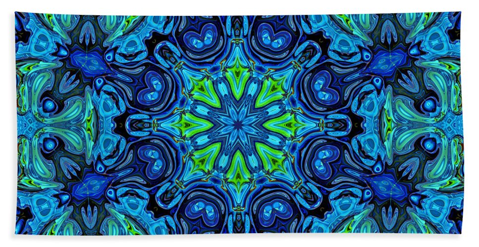 Blue Bath Sheet featuring the digital art So Blue - 04v2 - Mandala by Aimelle