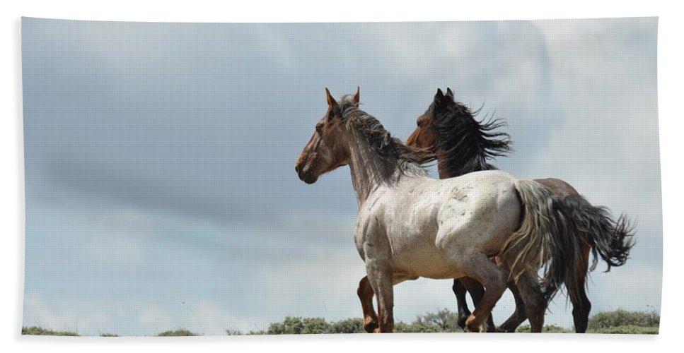 Wild Horses Bath Towel featuring the photograph So Long by Frank Madia