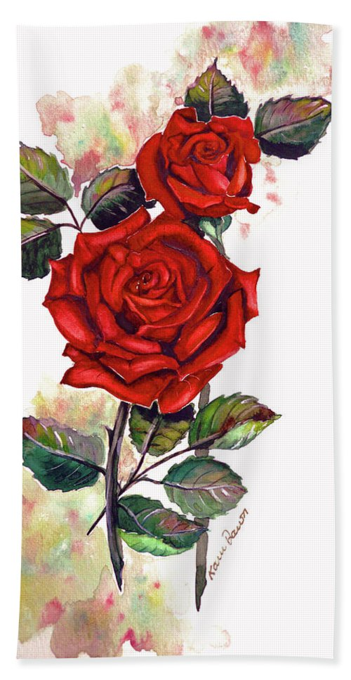 Red Rose Paintings Bath Sheet featuring the painting So Red by Karin Dawn Kelshall- Best