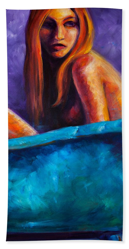 Nude Bath Towel featuring the painting Soak by Jason Reinhardt