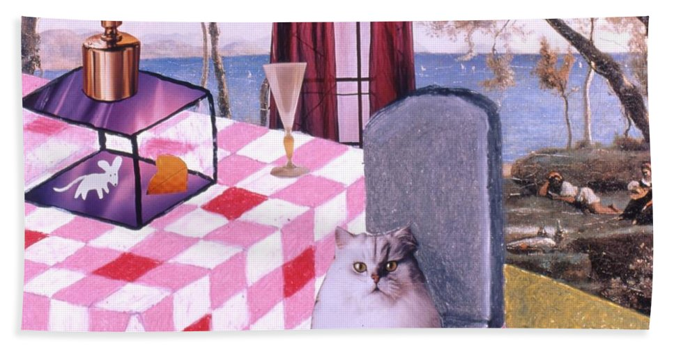 Cat Hand Towel featuring the drawing Soap Scene #14 Mouse In A Cage by Minaz Jantz