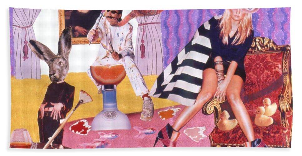 Mona Lisa Bath Sheet featuring the drawing Soap Scene #20 Galleria Symbiosis by Minaz Jantz