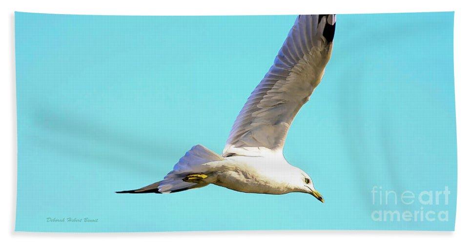 Bird Bath Sheet featuring the photograph Soaring In A Blue Sky by Deborah Benoit
