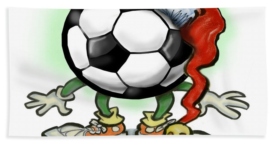 Soccer Hand Towel featuring the greeting card Soccer Christmas by Kevin Middleton