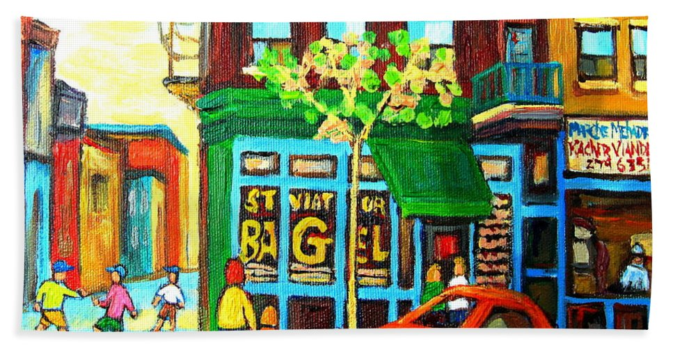 St Viateur Bagel Shop Montreal Street Scenes Bath Towel featuring the painting Soccer Game At The Bagel Shop by Carole Spandau