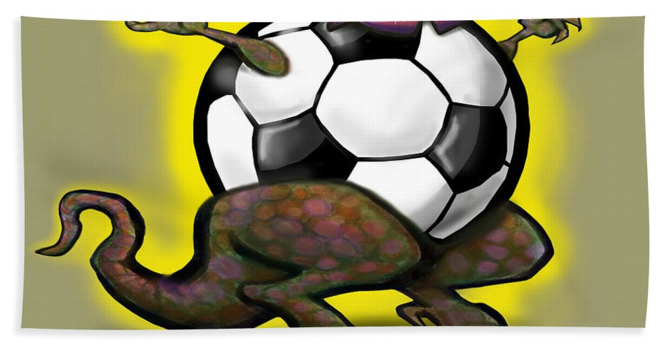 Soccer Bath Sheet featuring the digital art Soccer Saurus Rex by Kevin Middleton