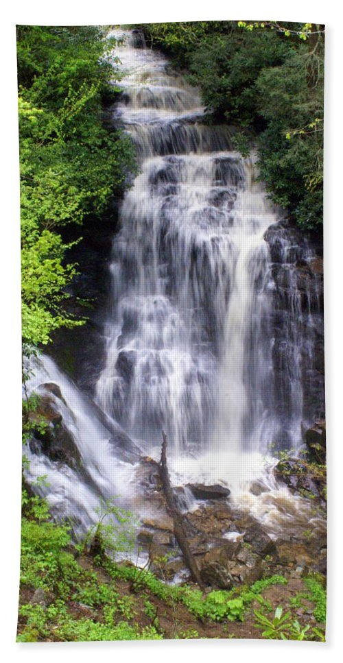 Soco Galls Bath Sheet featuring the photograph Soco Falls 1 by Marty Koch