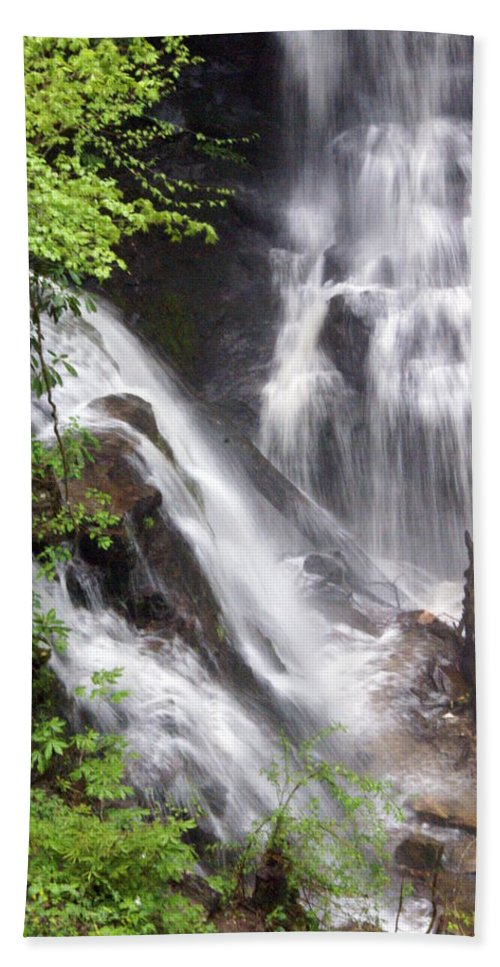 Soco Galls Hand Towel featuring the photograph Soco Falls 2 by Marty Koch