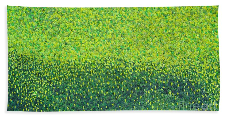 Abstract Hand Towel featuring the painting Soft Green Wet Trees by Dean Triolo