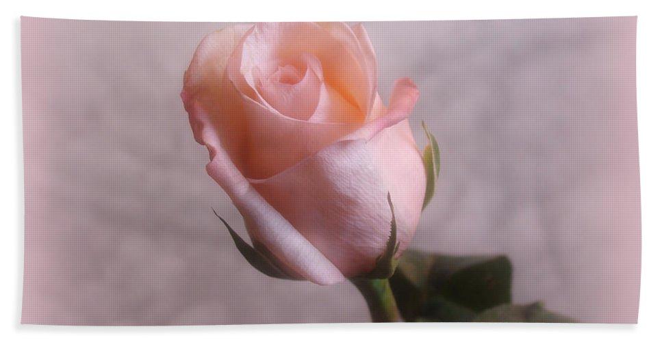 Flowers Bath Sheet featuring the digital art Soft Pink Rose by Sandy Keeton
