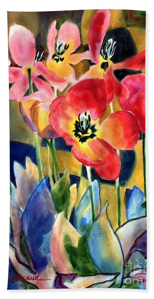 Paintings Hand Towel featuring the painting Soft Quilted Tulips by Kathy Braud