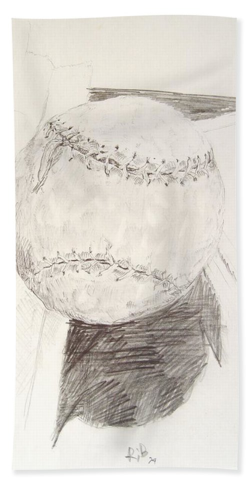 Onion Bath Towel featuring the drawing Softball by Ron Bissett