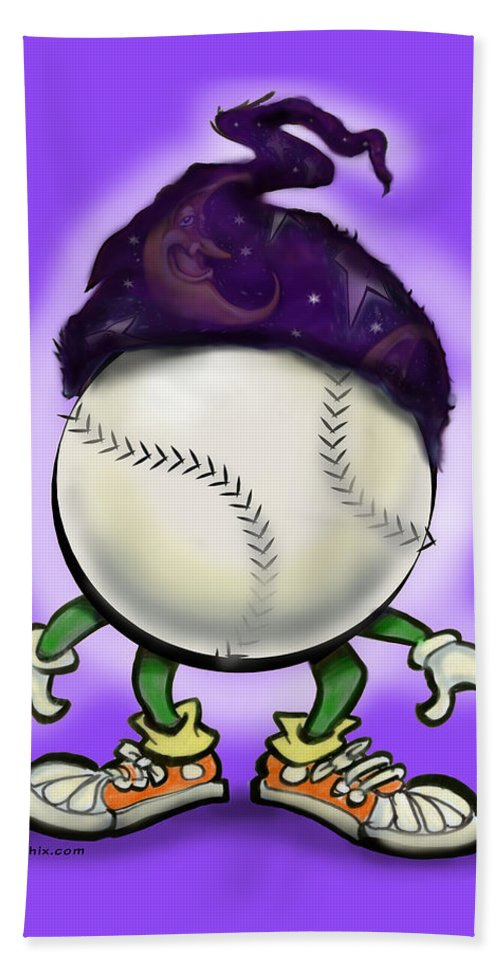 Softball Bath Sheet featuring the digital art Softball Wizard by Kevin Middleton