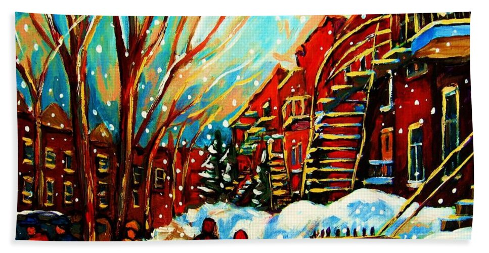 Montreal Bath Towel featuring the painting Softly Snowing by Carole Spandau