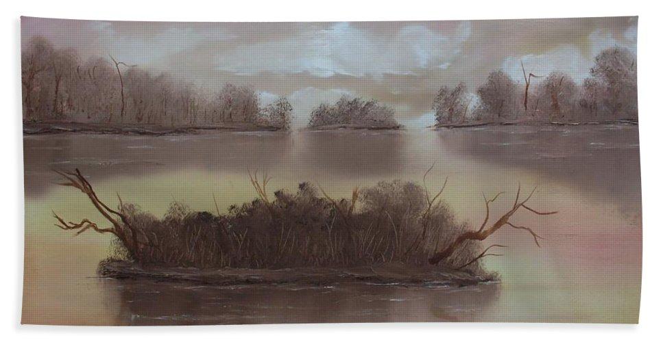 Landscape Bath Sheet featuring the painting Softly Spoken by Ervin Sloan
