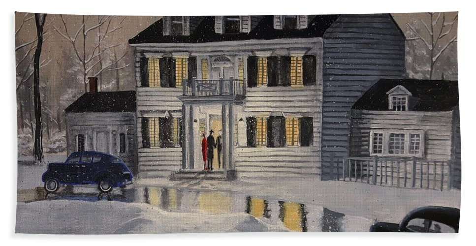 Winter Hand Towel featuring the painting Soiree At Billings Estate by Dave Rheaume