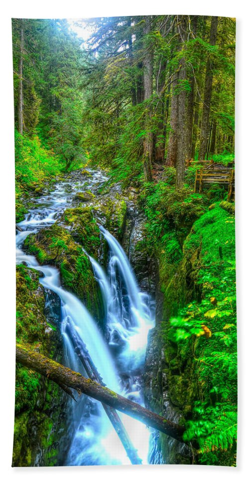 Olympic National Park Hand Towel featuring the photograph Sol Duc Falls by Don Mercer