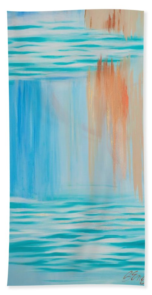 Blue Hand Towel featuring the painting Solace by Beata Engl