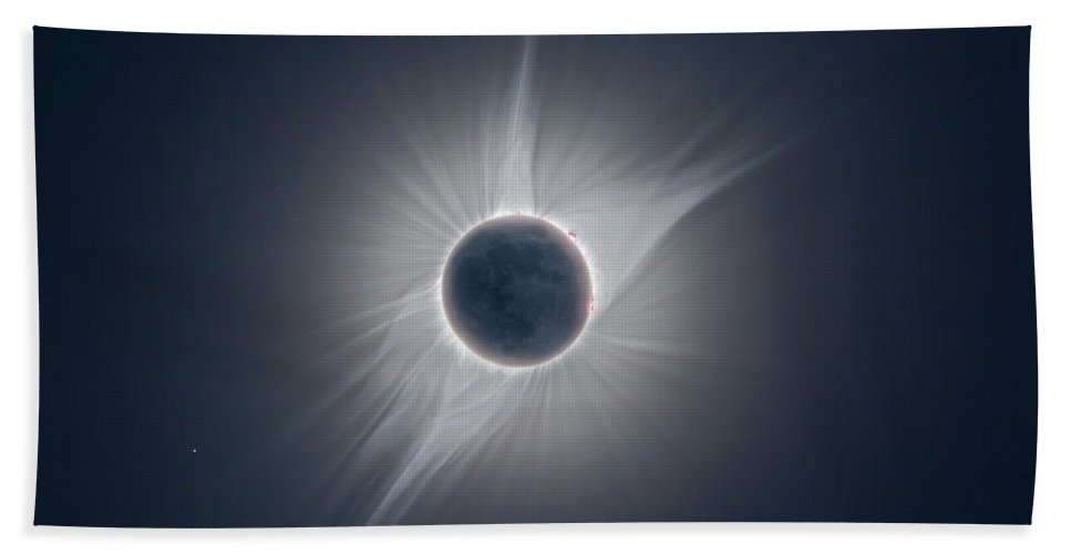 Total Solar Eclipse Hand Towel featuring the photograph Solar Corona During The Eclipse Of August 21 2017 by Alex Conu