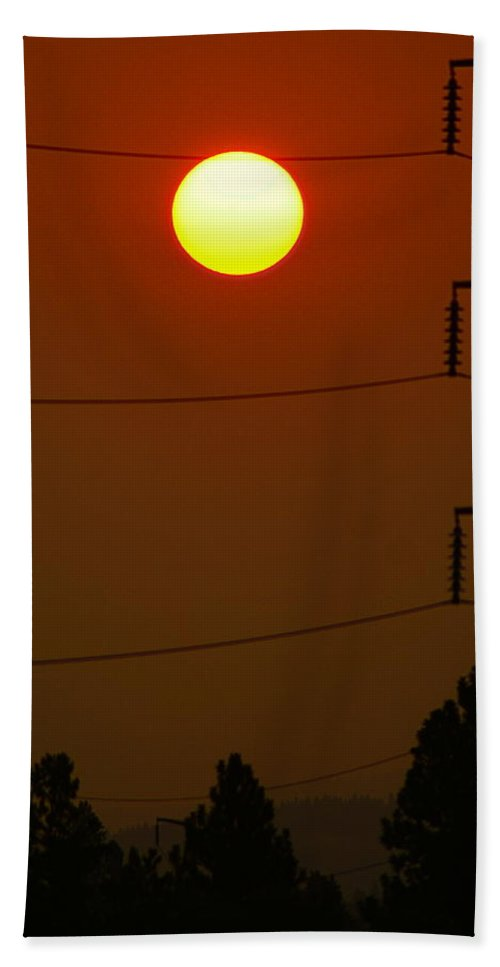Nature Hand Towel featuring the photograph Solar Power Lines by Ben Upham III