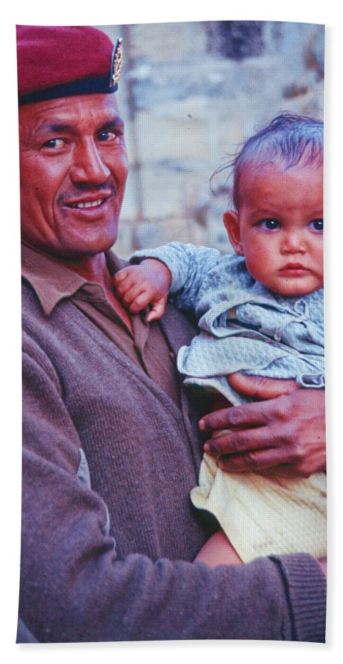 Nepal Bath Sheet featuring the photograph Soldier And Baby by Omar Shafey