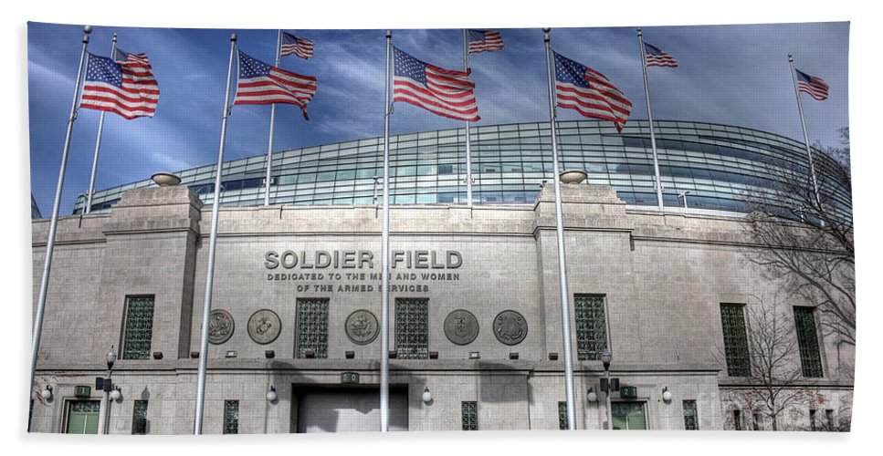 Chicago Illinois Hand Towel featuring the photograph Soldier Field by David Bearden