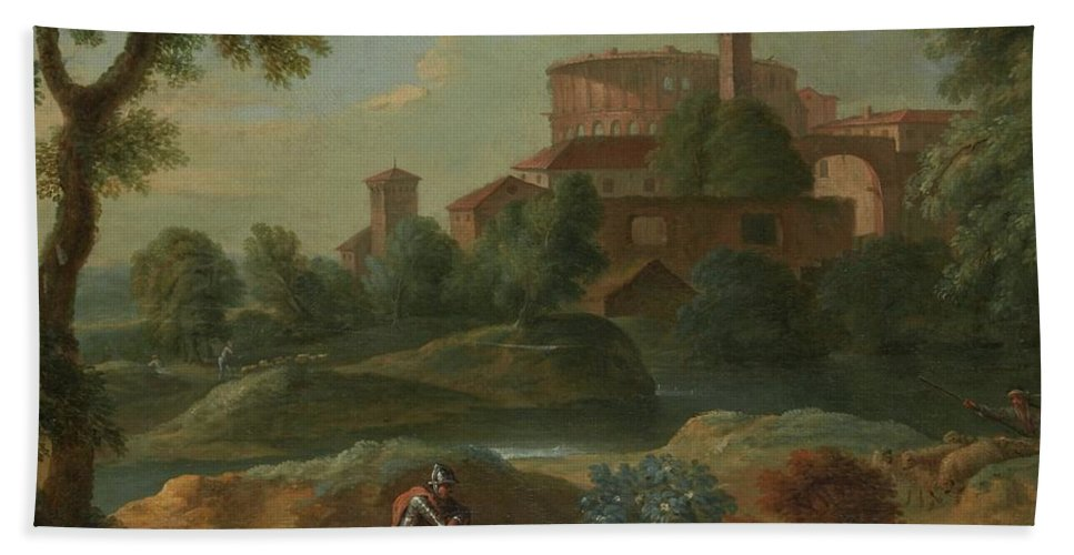 Marcantonio Sardi Landscape With Soldiers And Dogs Near A River Hand Towel featuring the painting Soldiers And Dogs Near A River by Marcantonio
