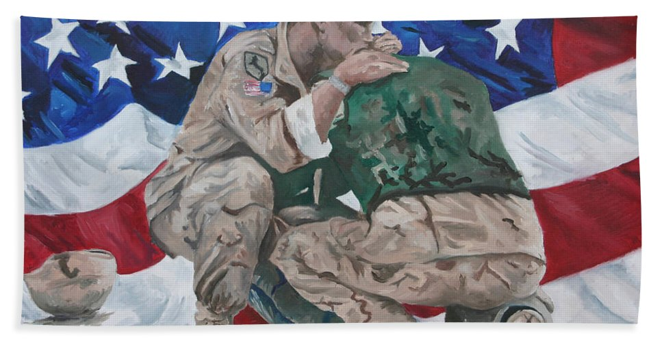 Soldiers Hand Towel featuring the painting Soldiers by Travis Day