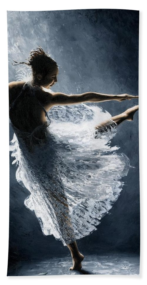 Dancer Bath Towel featuring the painting Solitaire by Richard Young