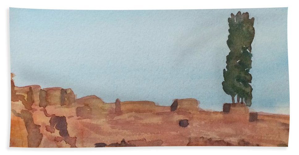 Alone Bath Sheet featuring the painting Solitarty Tree On Mountain by Katherine Berlin