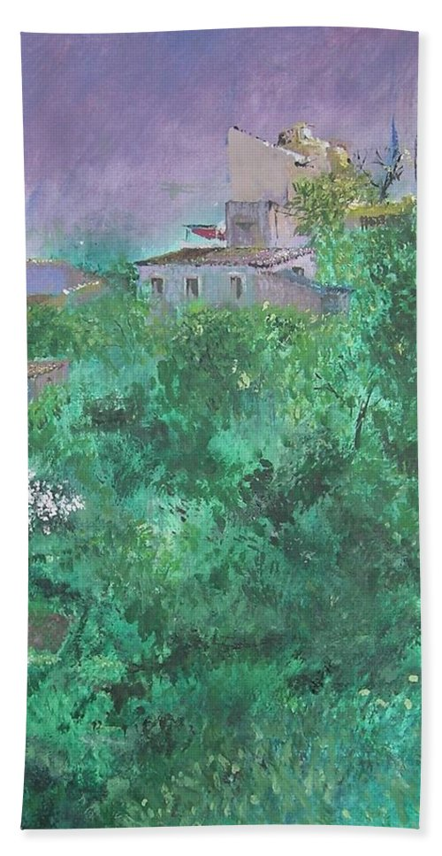 Impressionist Bath Towel featuring the painting Solitary Almond Tree In Blossom Mallorcan Valley by Lizzy Forrester