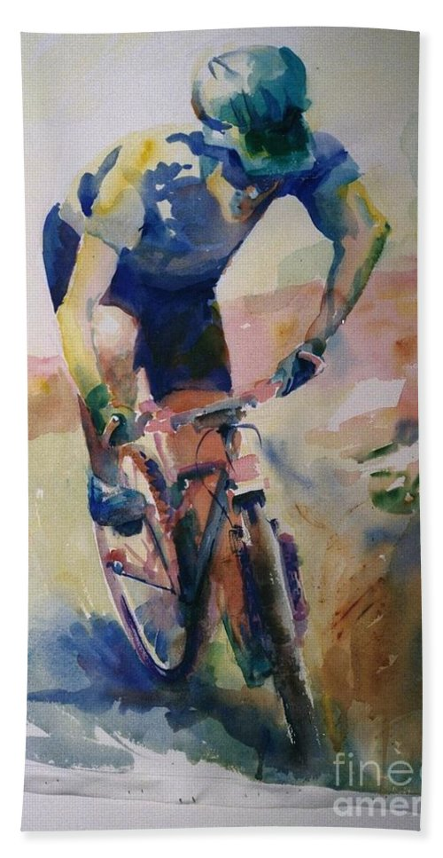 Watercolor Custom Art Painting Painted From A Photograph Biker Sports Bicycle Bath Sheet featuring the painting Solitary Biker by Maggie Clark