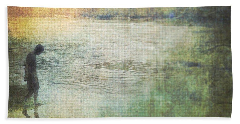 Digital Art Hand Towel featuring the digital art Solitary--walking In Water by Melissa D Johnston