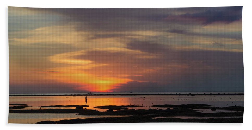 Sunset Bath Sheet featuring the photograph Solitary Woman In Lembongan by Denise Gallagher