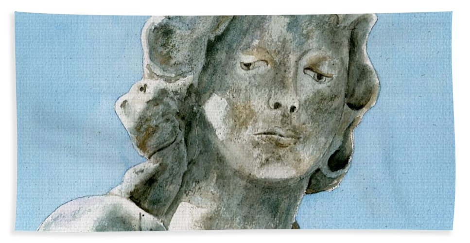 Portrait Watercolor Cemetery Statue Sky Woman Bath Sheet featuring the painting Solitude. A Cemetery Statue by Brenda Owen
