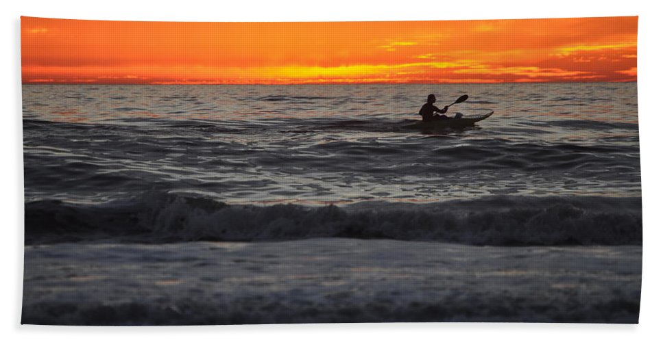 Kayak Hand Towel featuring the photograph Solitude But Not Alone by Bridgette Gomes