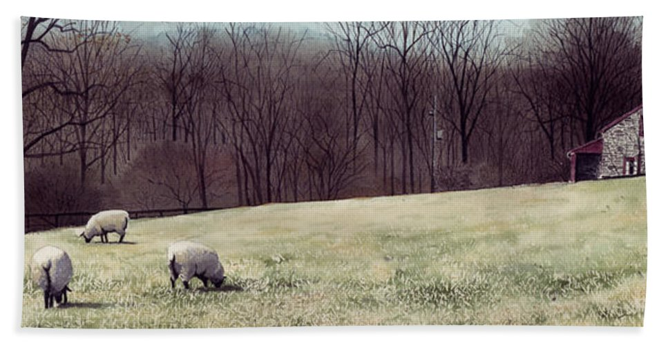 Sheep Hand Towel featuring the painting Solitude by Denny Bond