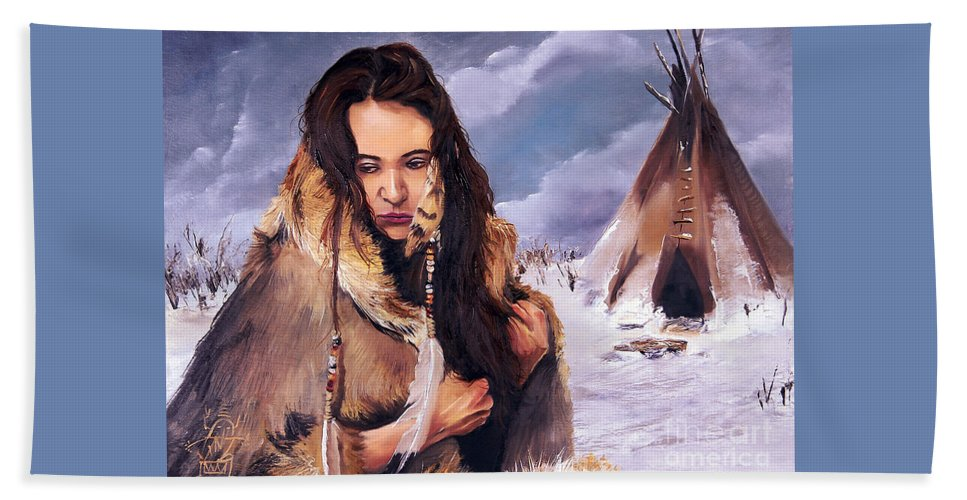 Southwest Art Bath Sheet featuring the painting Solitude by J W Baker