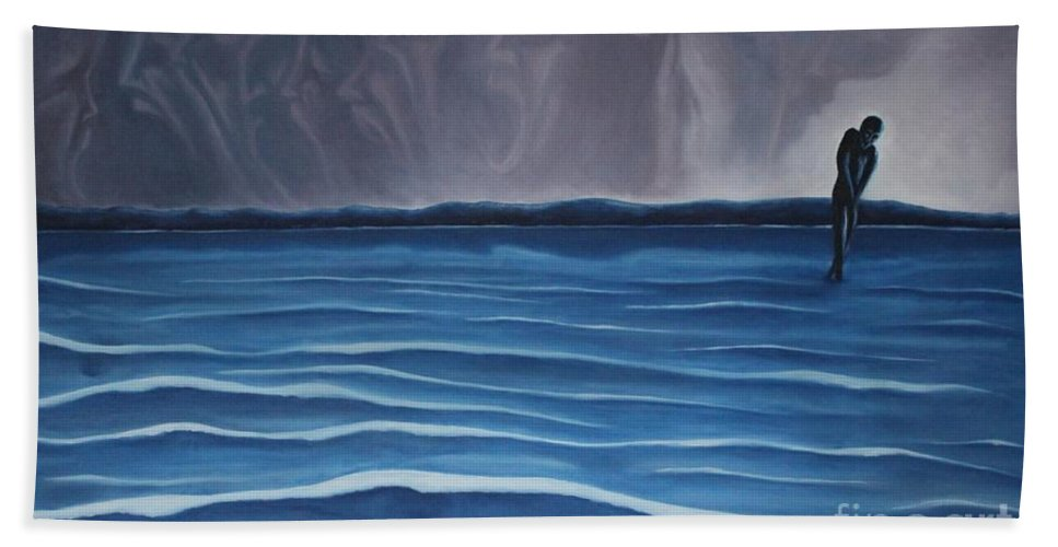 Tmad Hand Towel featuring the painting Solitude by Michael TMAD Finney
