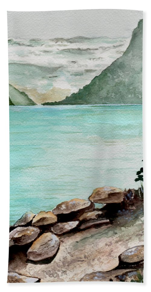 Watercolor Hand Towel featuring the painting Solitude Of The Lake by Brenda Owen