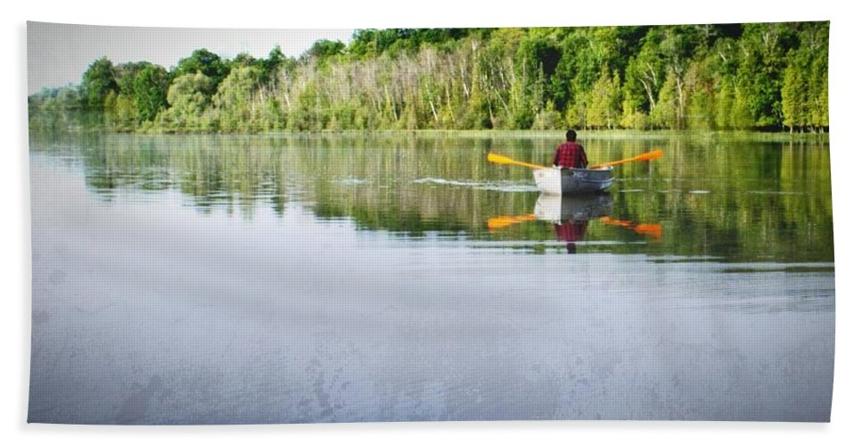 Michigan Hand Towel featuring the photograph Solitude On Susan Lake by LuAnn Griffin