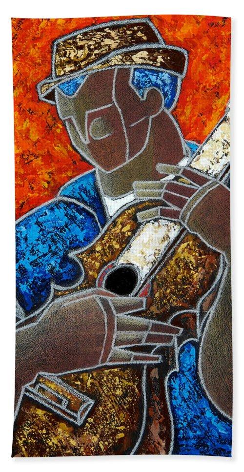Puerto Rico Bath Towel featuring the painting Solo De Cuatro by Oscar Ortiz