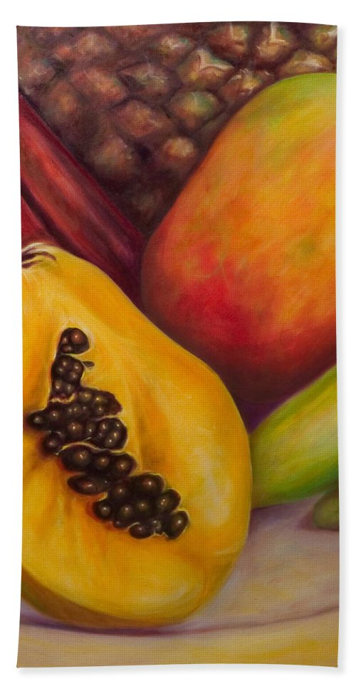Tropical Fruit Still Life: Mangoes Bath Towel featuring the painting Solo by Shannon Grissom