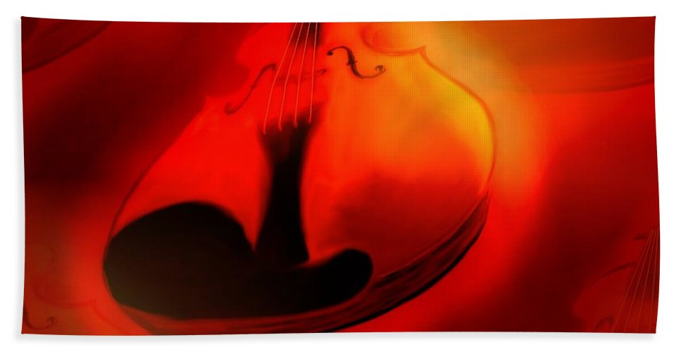 Violin Bath Towel featuring the digital art Soloviolin by Helmut Rottler