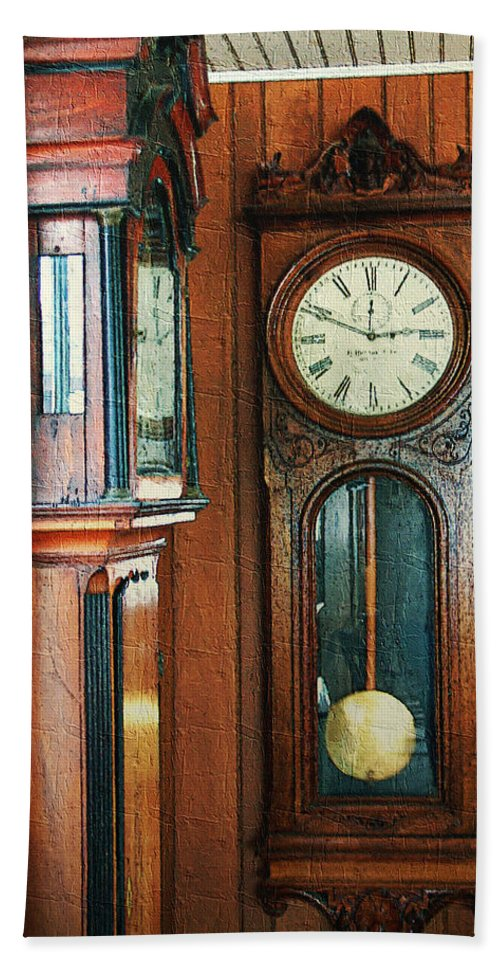 Antiques Hand Towel featuring the digital art Somebodys Grandfathers Clocks by RC DeWinter