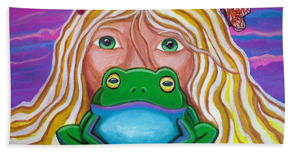 Frog Hand Towel featuring the painting Somebody's Prince by Nick Gustafson