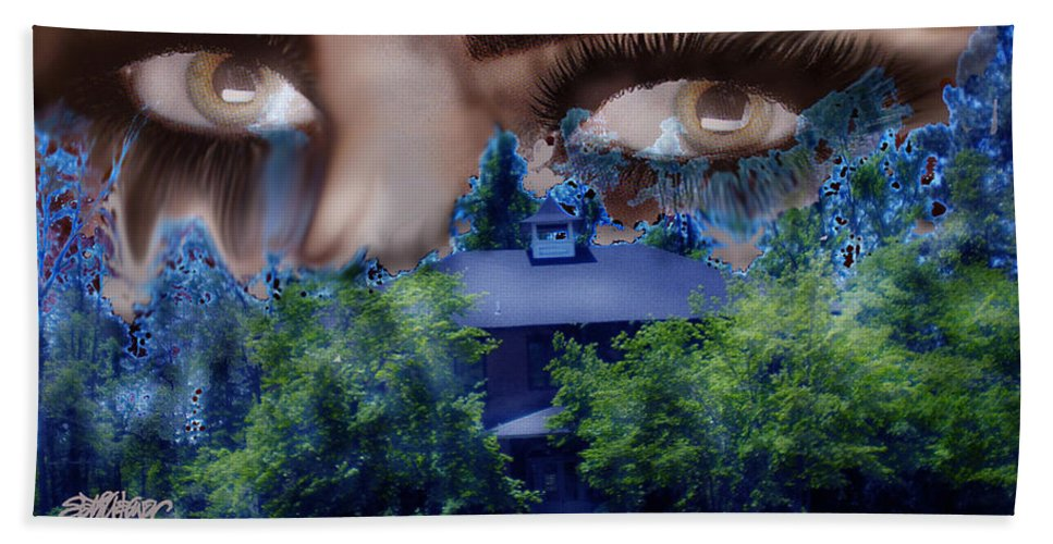 Strange House Bath Sheet featuring the digital art Something To Watch Over Me by Seth Weaver
