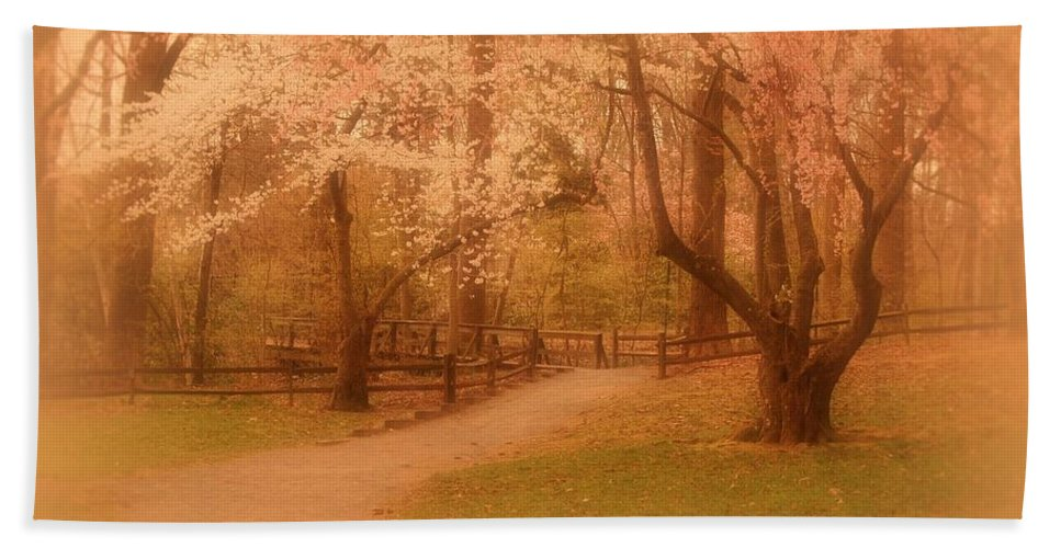 Cherry Blossom Trees Hand Towel featuring the photograph Sometimes - Holmdel Park by Angie Tirado
